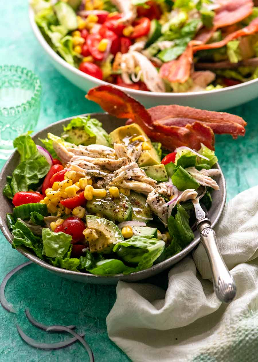 Serving of Chicken salad with herb and garlic dressing