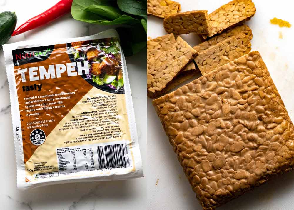 Tempeh - fermented soy bean for Gado Gado