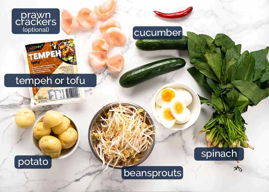 Ingredients in Gado Gado Salad