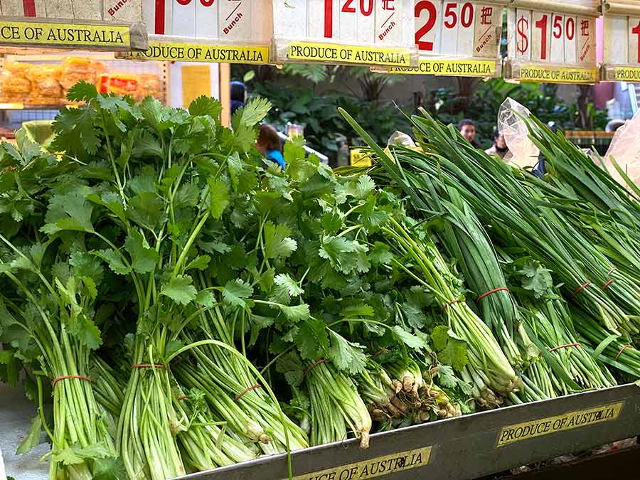Fresh herbs at Asian market