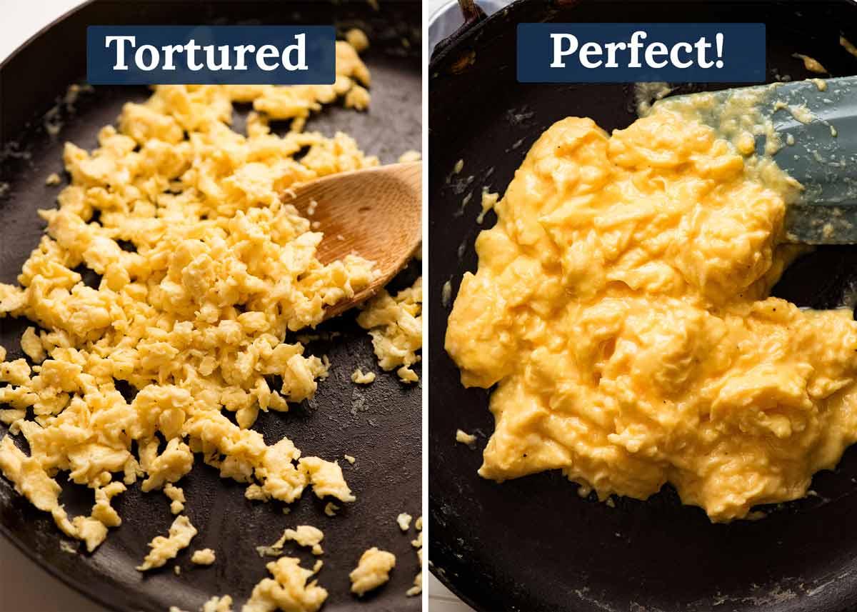 Ovos mexidos ruins em comparação com bons ovos mexidos