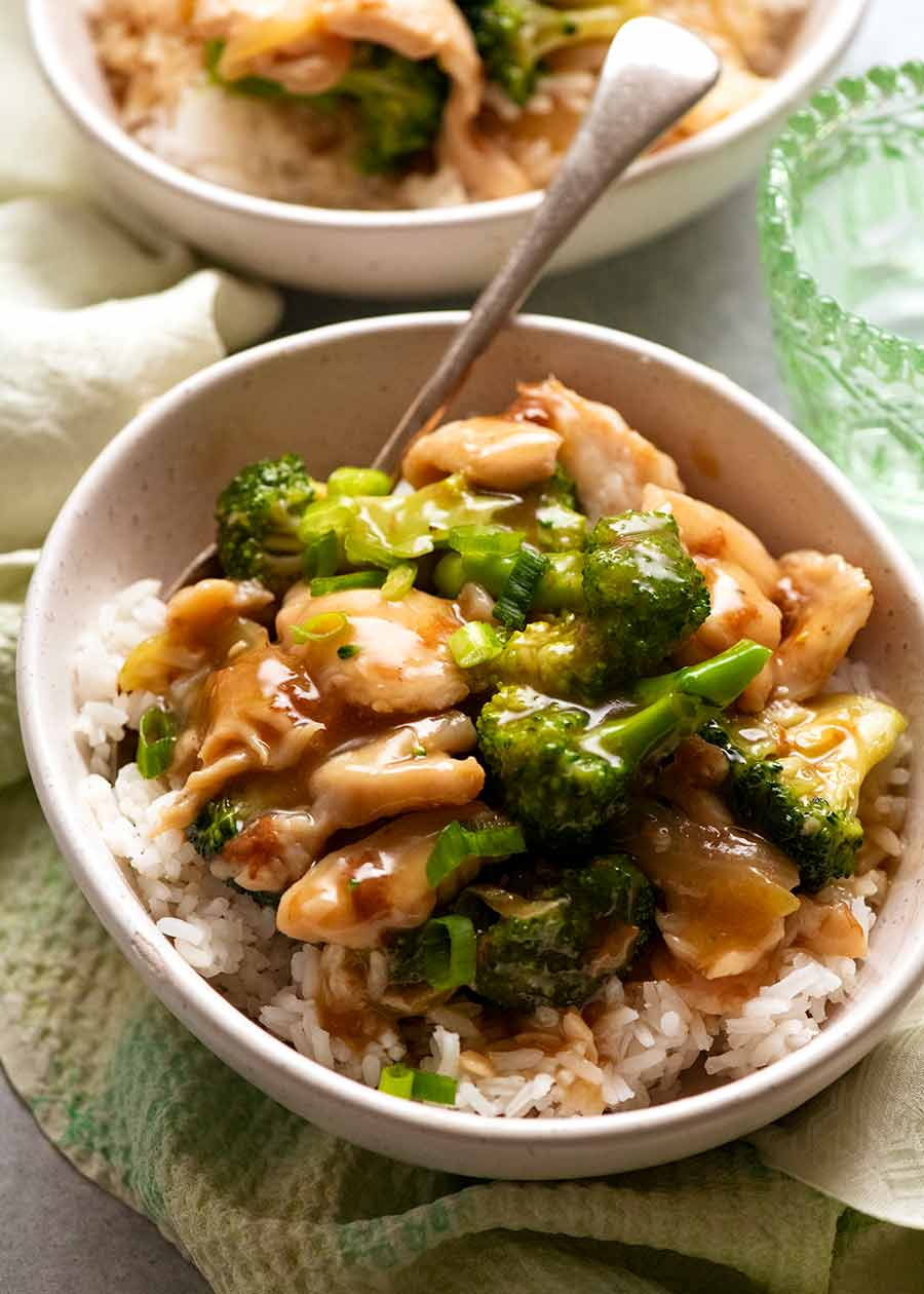 Chicken Broccoli Stir Fry served over rice, ready to be eaten