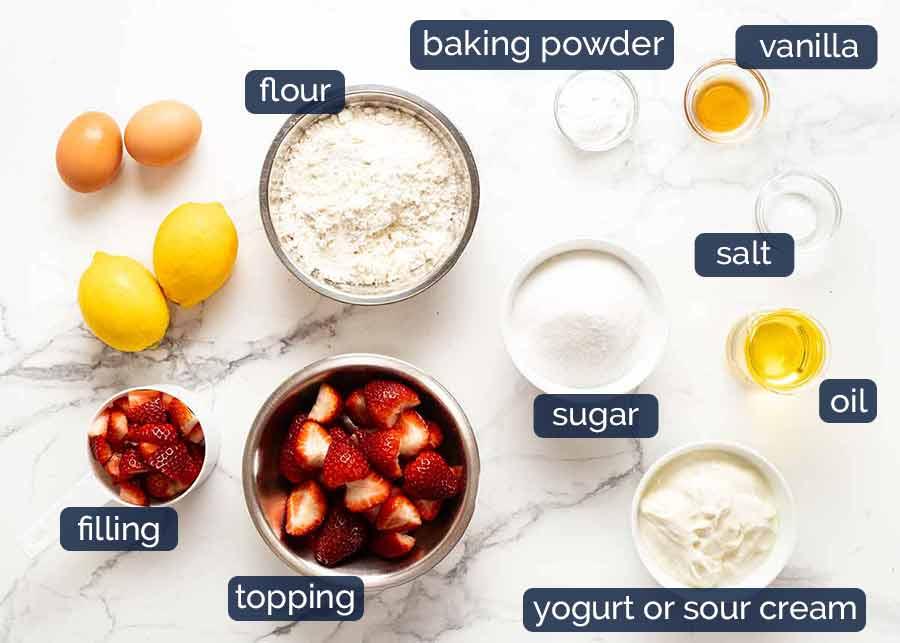 Ingredientes em Bolo de Morango