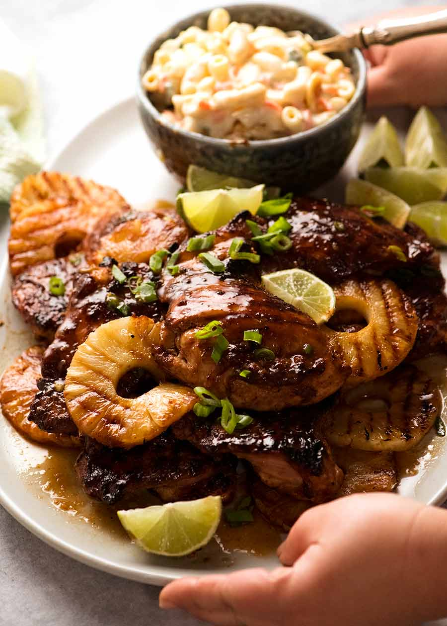 Platter of Hawaiian Huli Huli Chicken with macaroni salad on the side