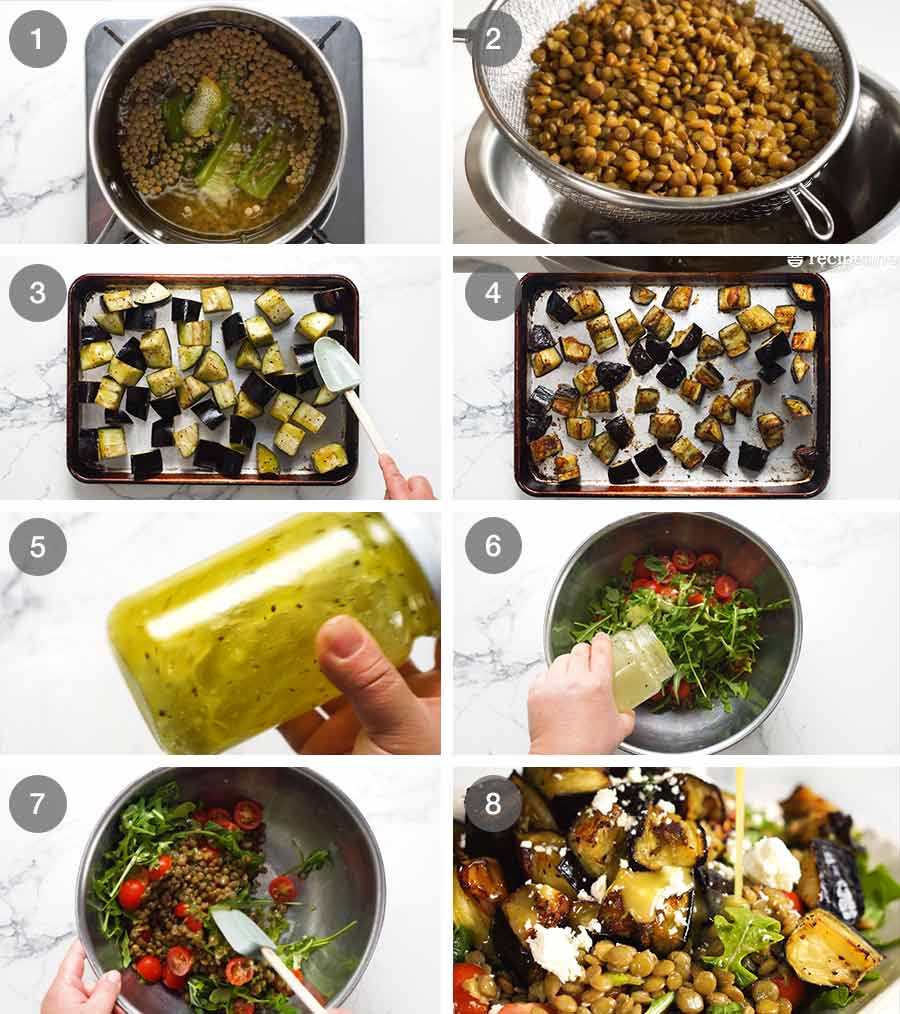 How to make Roasted Eggplant Lentil Salad