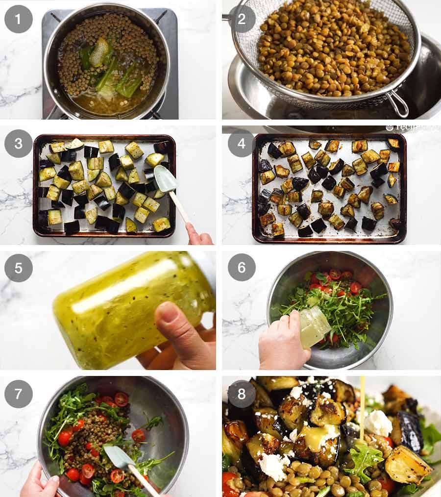 Como fazer salada de lentilha assada com berinjela