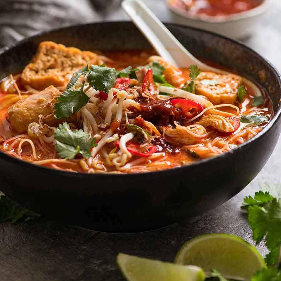 Laksa Noodle Soup - Malaysian coconut noodle soup