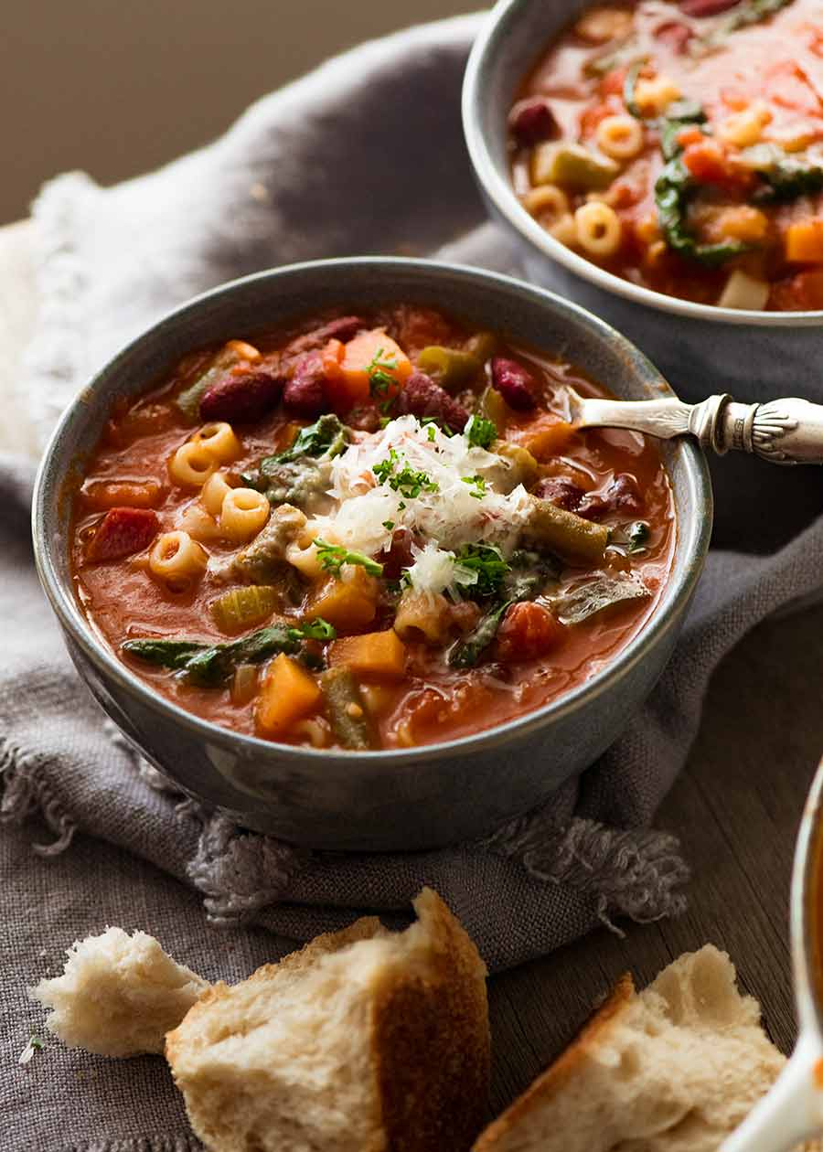 Bowl of Minestrone Soup ready to be eaten