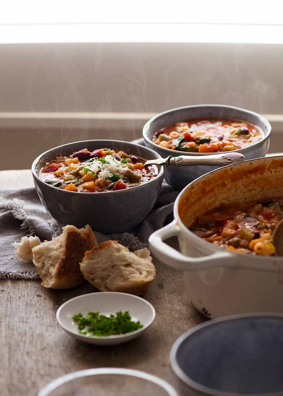 Minestrone Soup being served for dinner