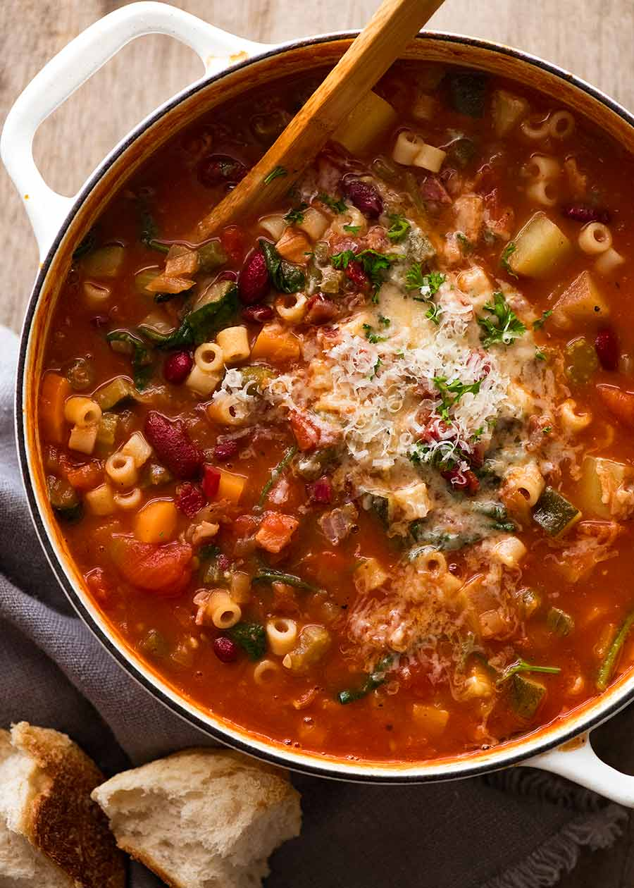 Overhead photo of pot of Minestrone Soup