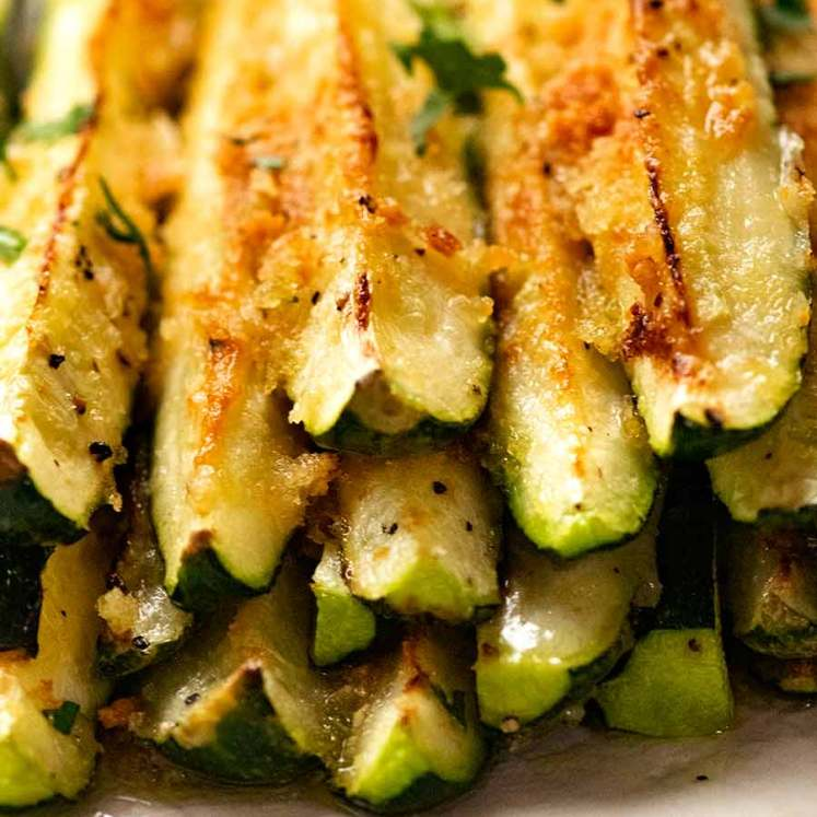 Close up of stack of parmesan baked zucchini