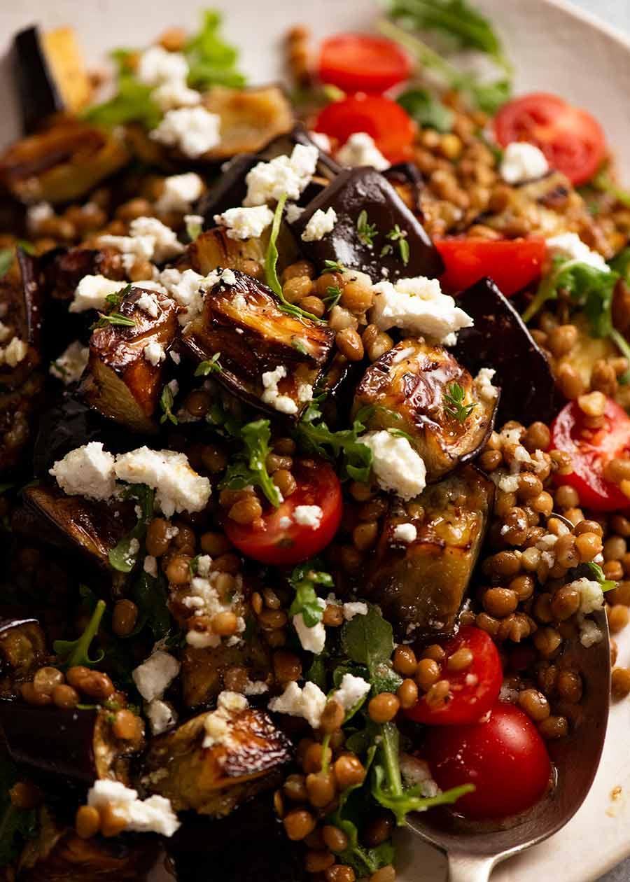 Lentil and Roasted Eggplant Salad