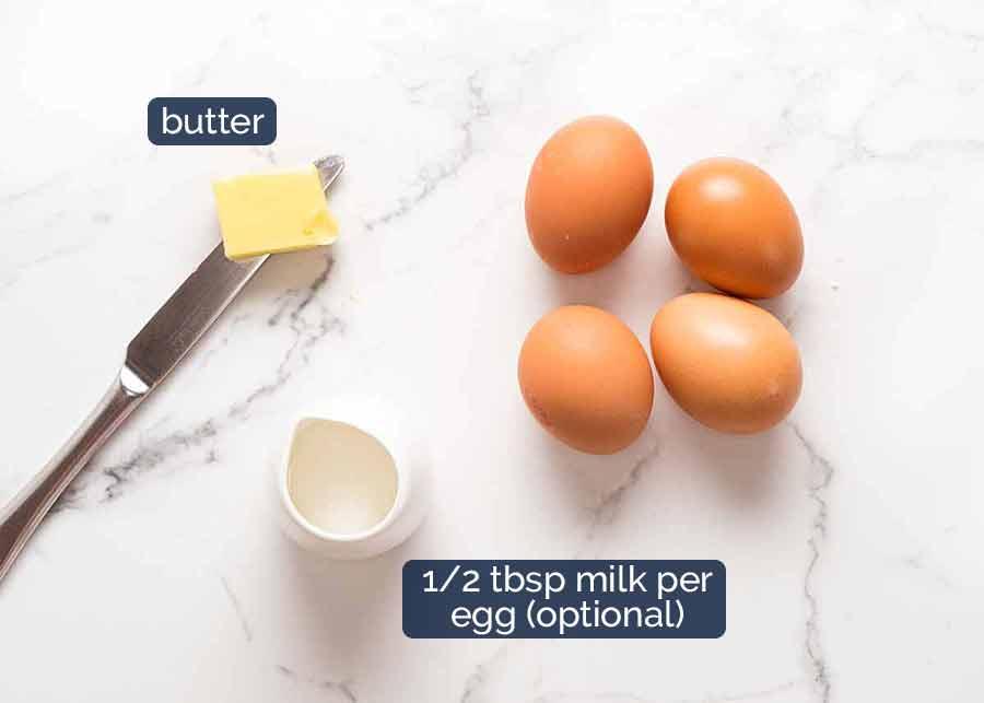 Leite para ovos mexidos - 1/2 colher de sopa por ovo