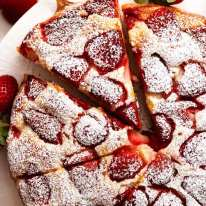 Close up of strawberry cake recipe