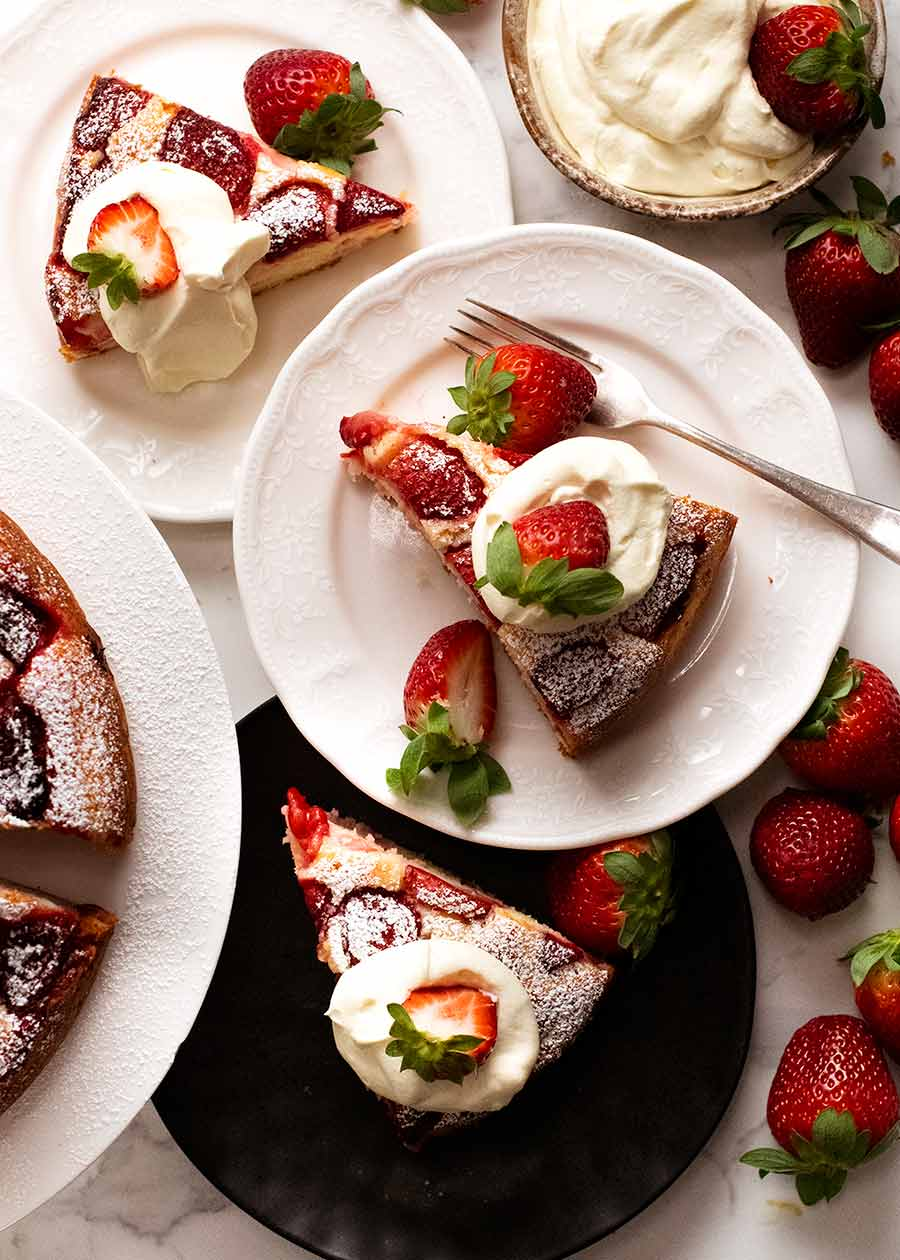 Overhead photo of Strawberry Cake being served