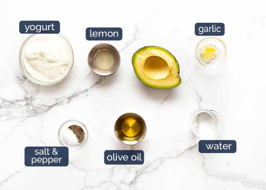 Ingredientes para molho cremoso de abacate