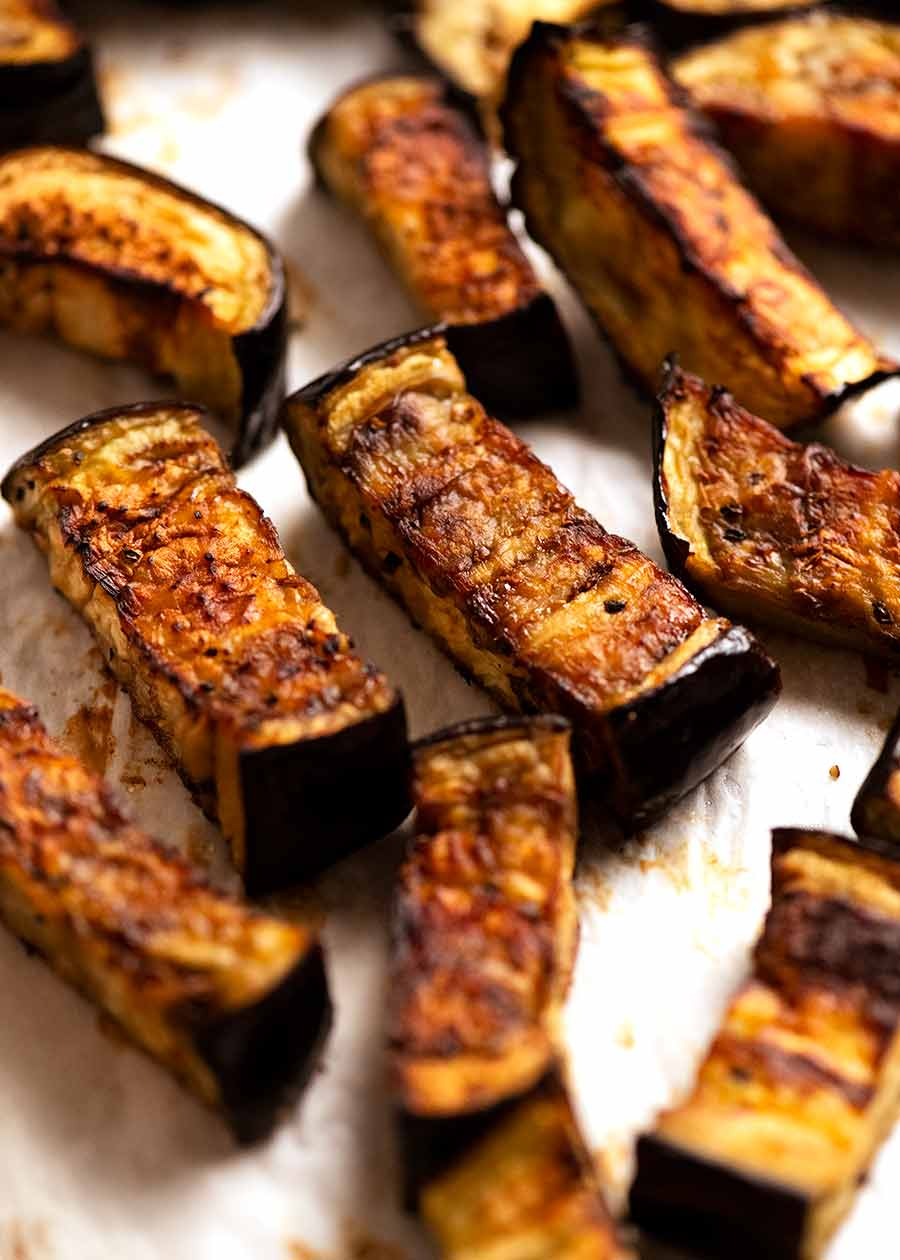 Roasted eggplant for Indian Eggplant Curry