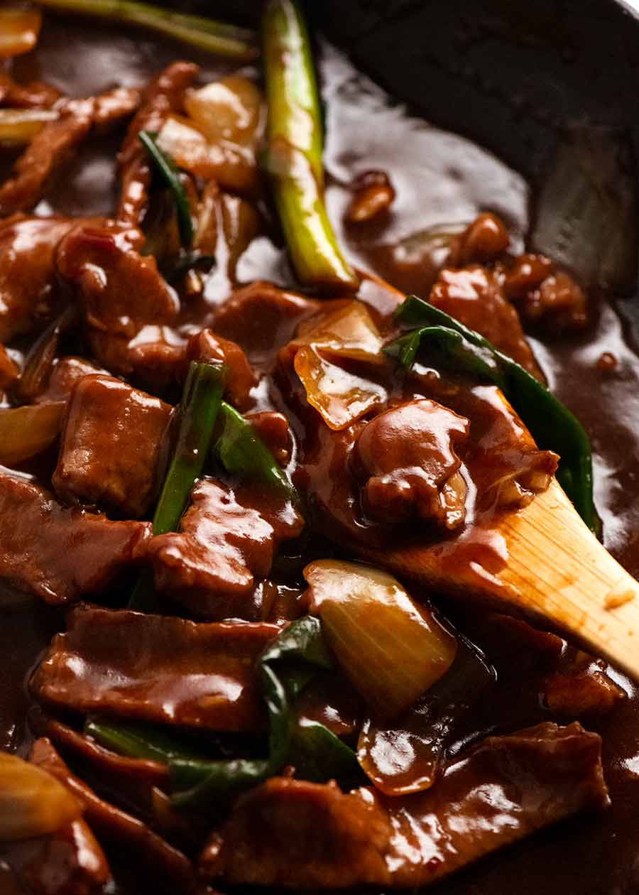 Close up of Mongolian Lamb fresh off the stove