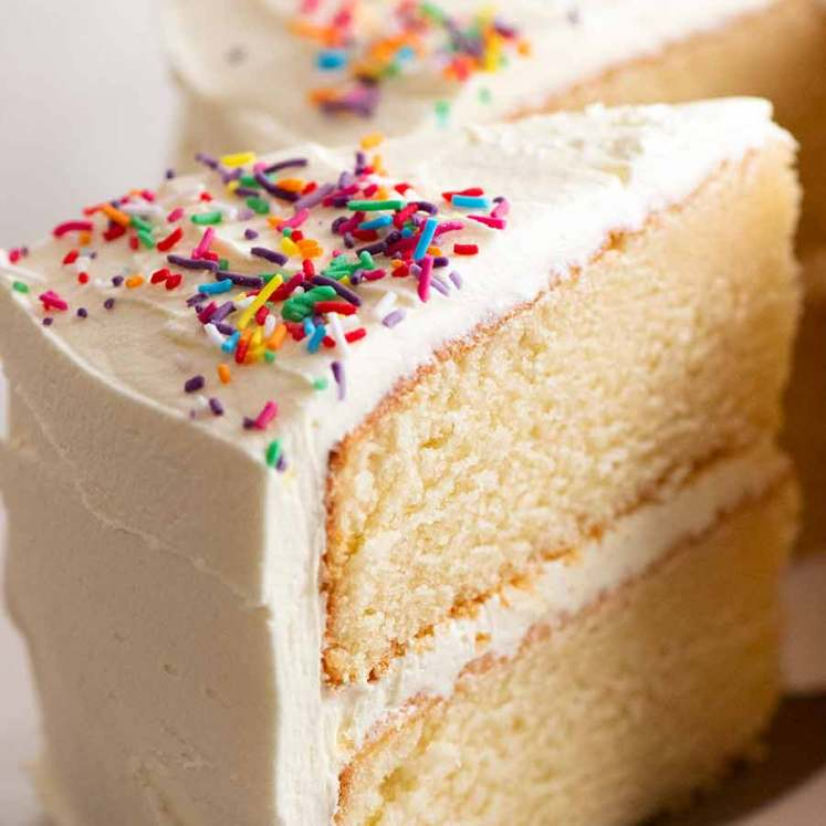 Close up of a slice of the best Vanilla Cake