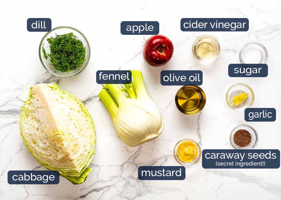 Ingredients in No Mayo Coleslaw (Apple Slaw)