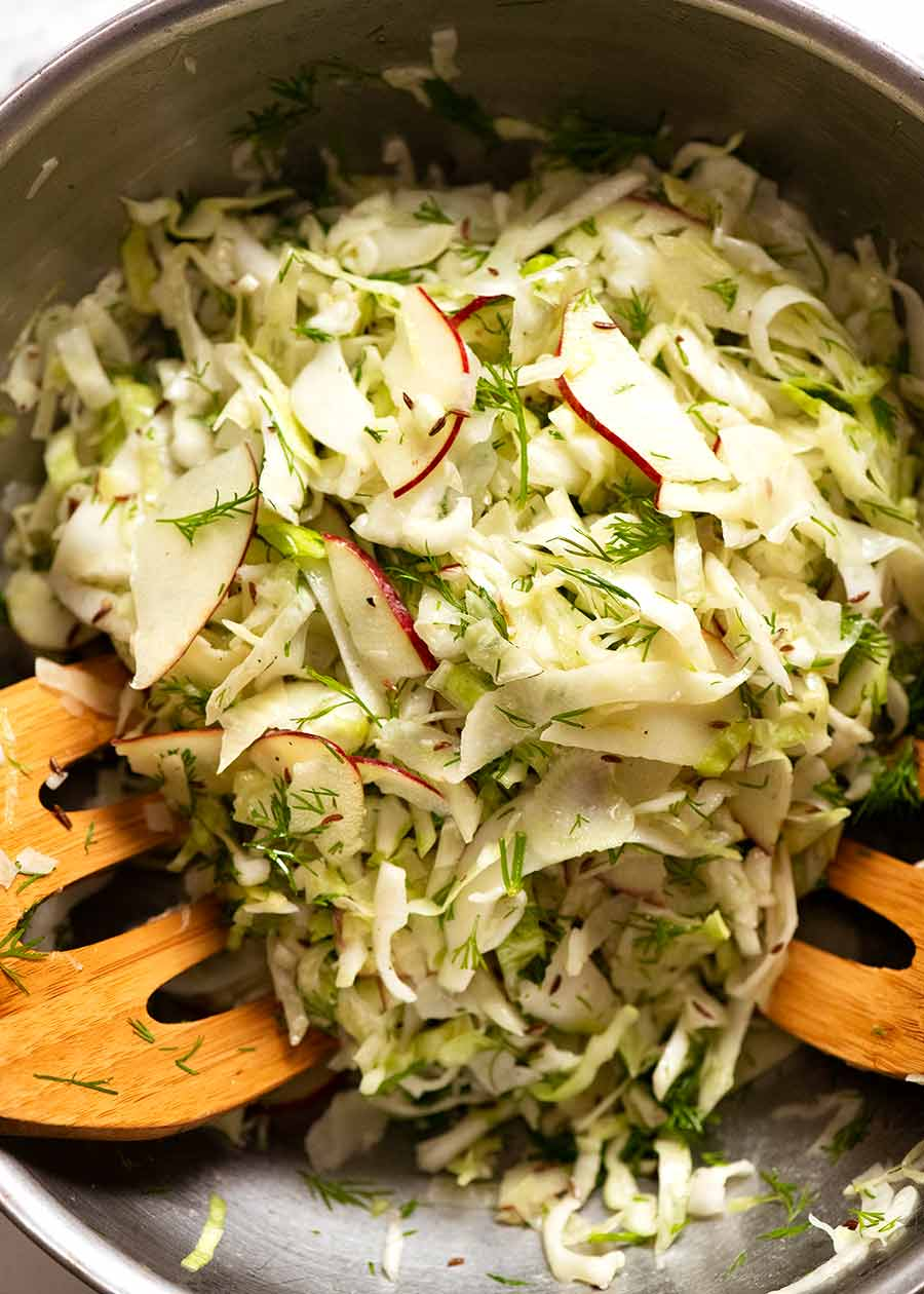 No Mayo Coleslaw (Apple Slaw) in a bowl