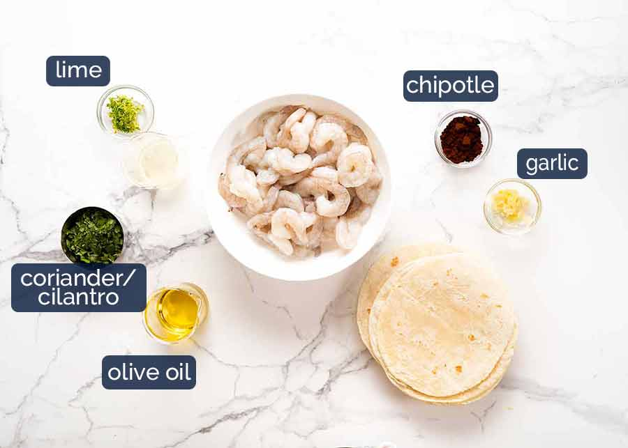 Ingredients in marinade for prawn tacos