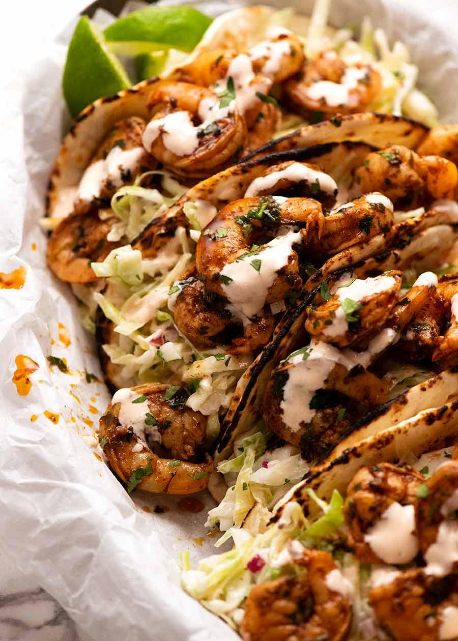 Close up side shot of Prawn Tacos (Shrimp)