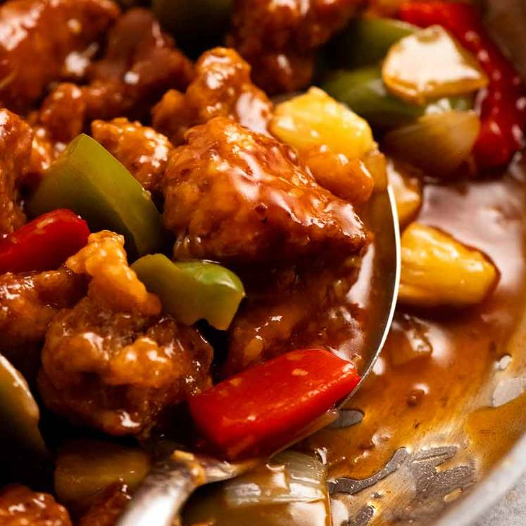 Close up of freshly cooked Sweet and Sour Pork