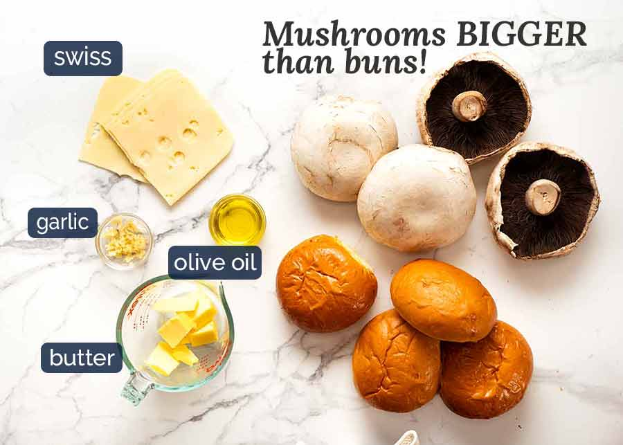 Ingredients for Swiss Mushroom Burgers