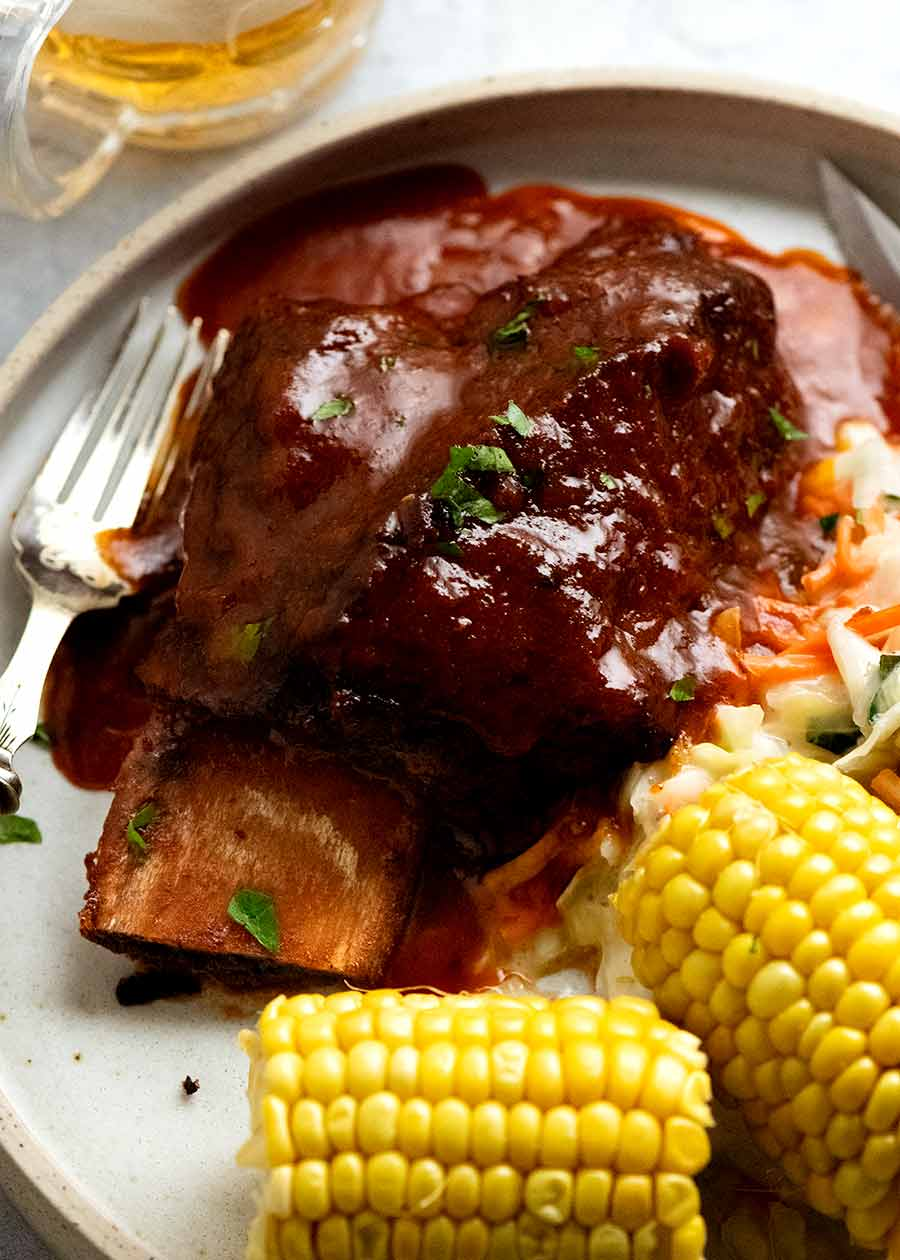 Beef Ribs in BBQ Sauce – slow cooked