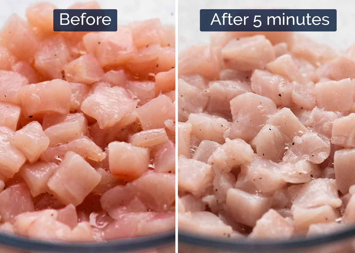 "Photo showing before and after ""cooking"" raw fish with lime juice for Ceviche"