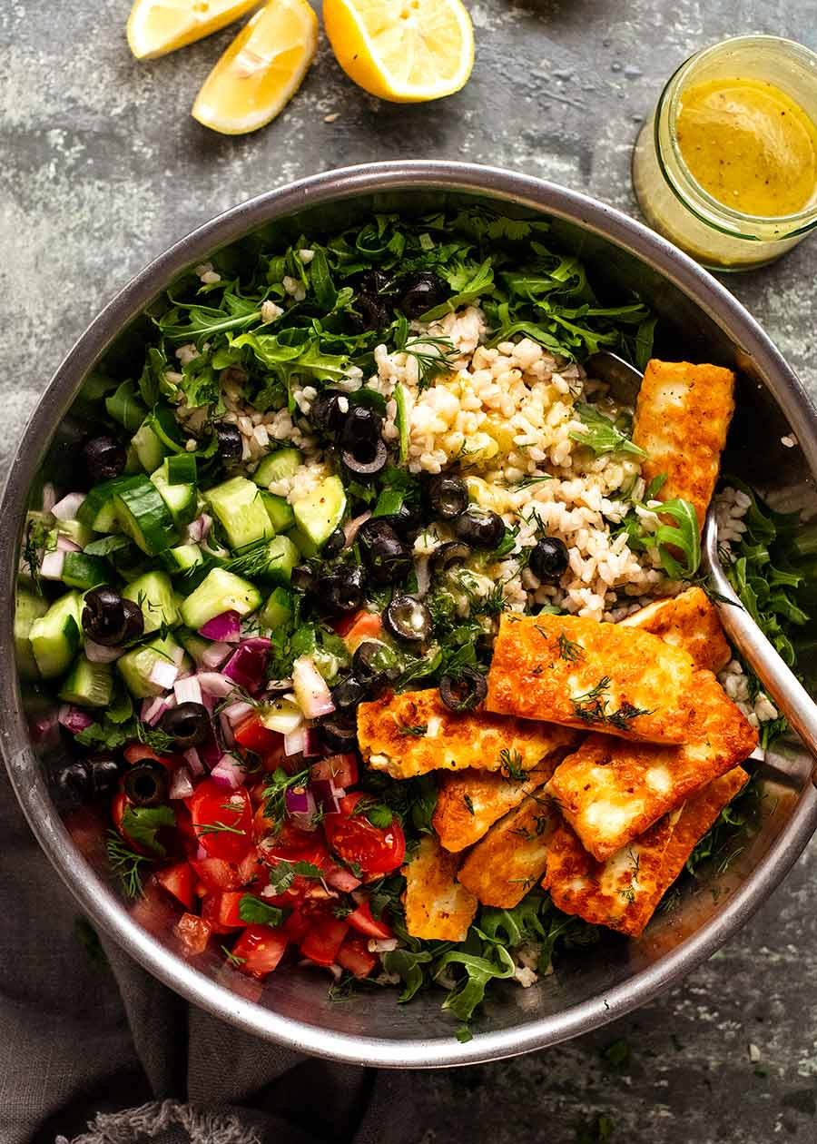 Overhead photo of Mediterranean Brown Rice Salad showing ingredients