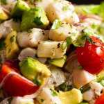 Close up of Ceviche, ready to be eaten