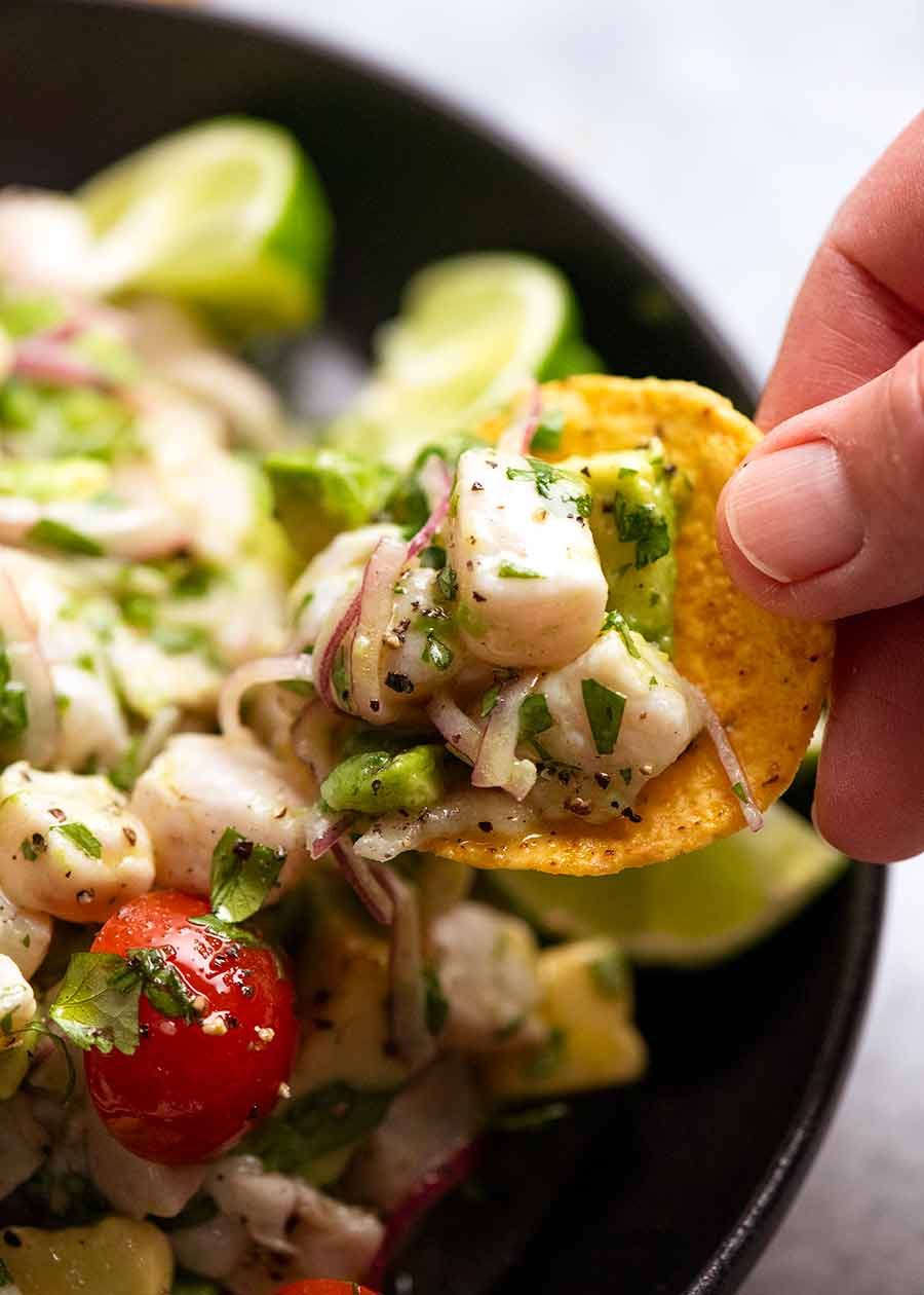 Close up of Ceviche on tortilla chip