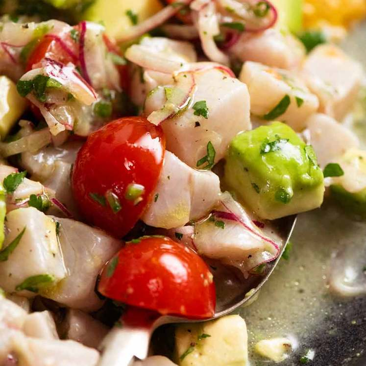 Close up of Ceviche in a spoon