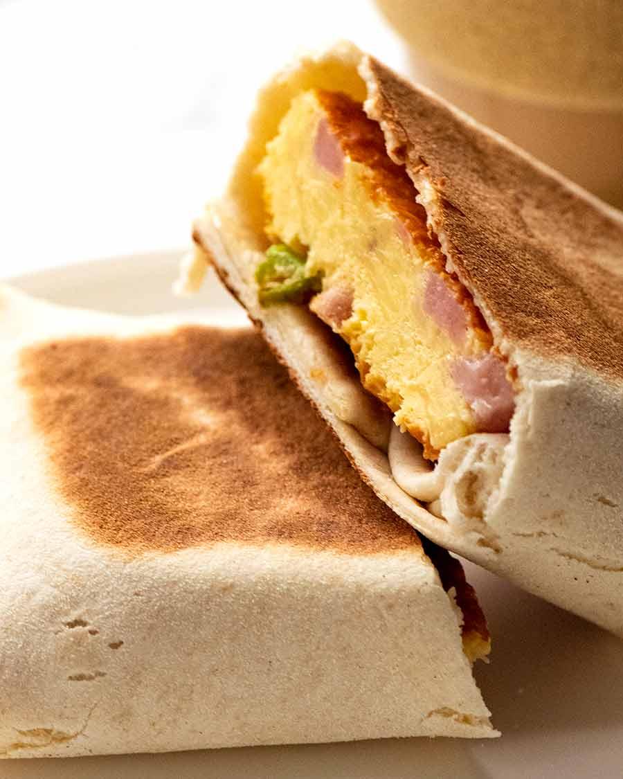 Crustless Quiche Ham and Cheese Burrito