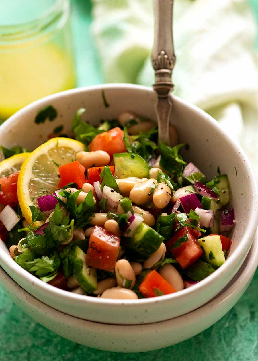 White Bean Tabbouleh Salad in a bowl, served as a light meal