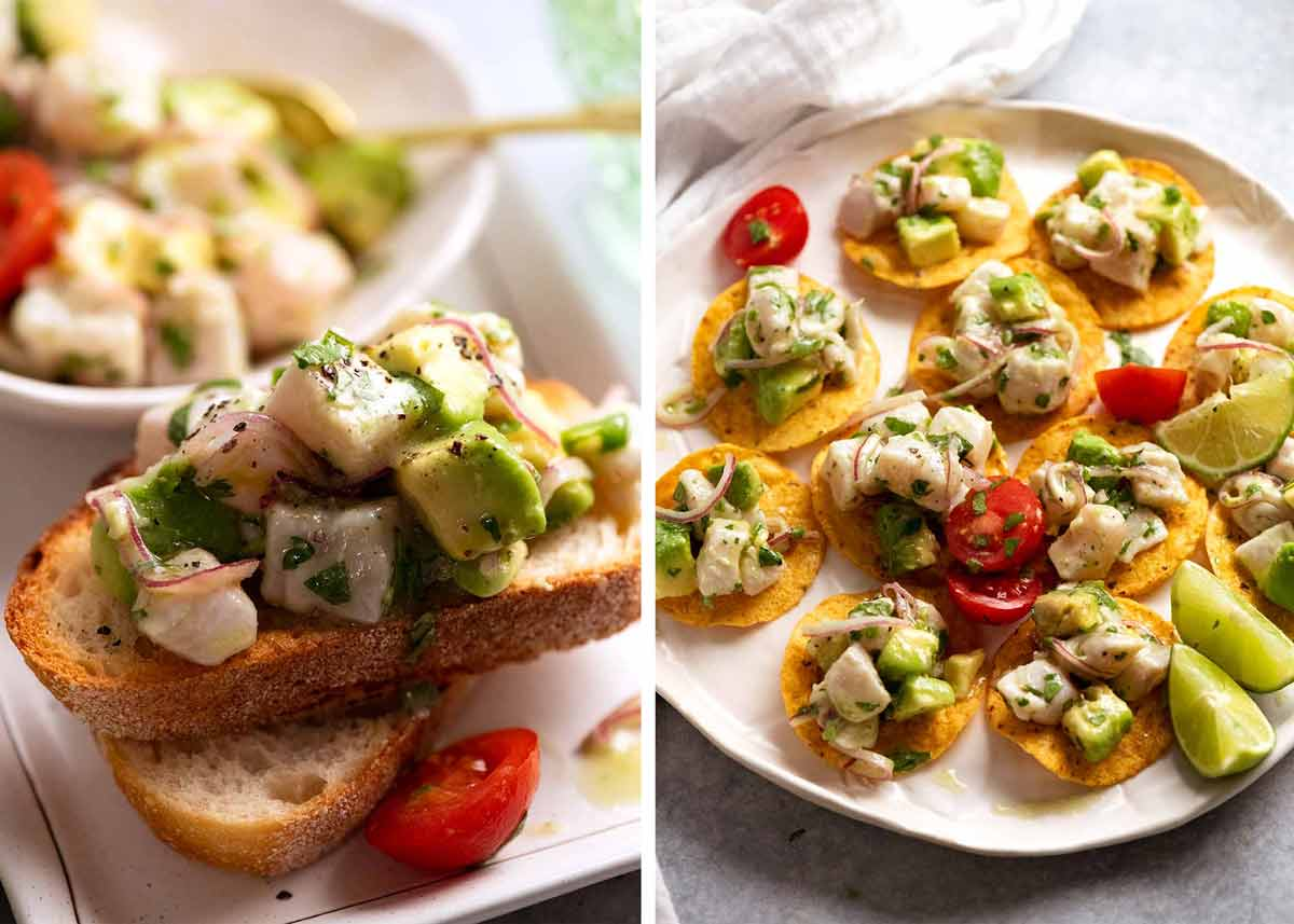 Two different ways to serve Ceviche - as an appetiser on corn chips or with crostini