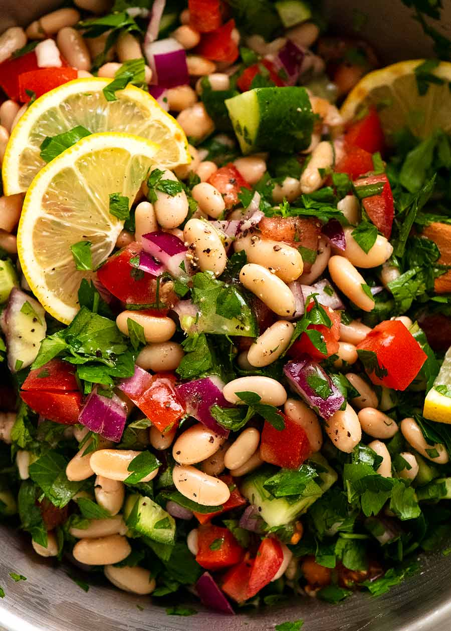 Close up of White Bean Tabbouleh Salad ready to be served