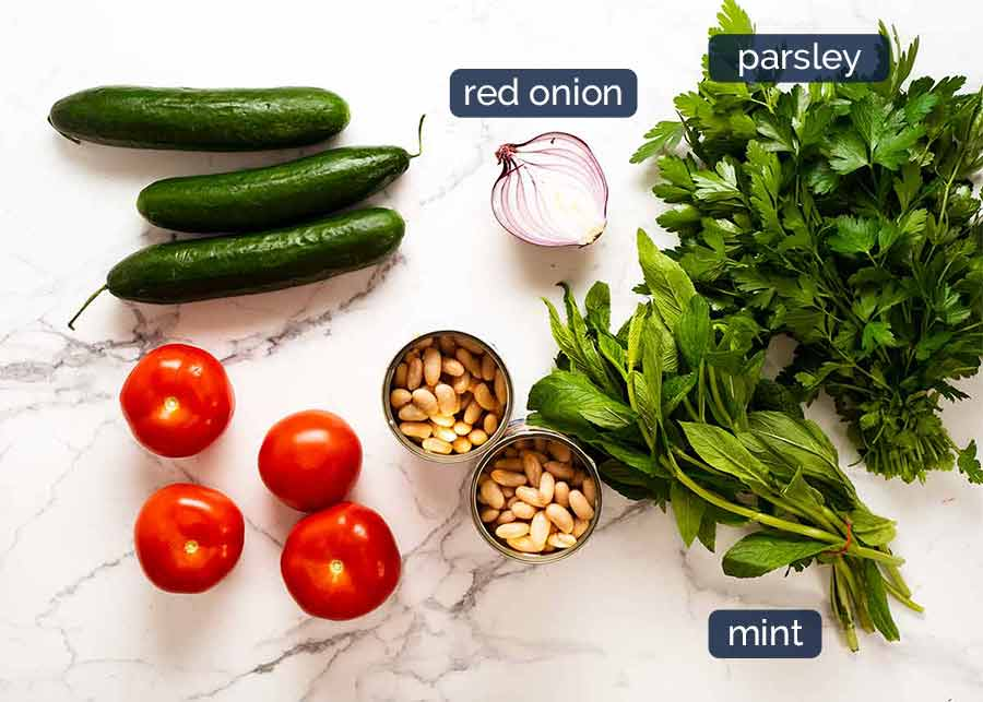 Ingredients in White Bean Tabbouleh Salad