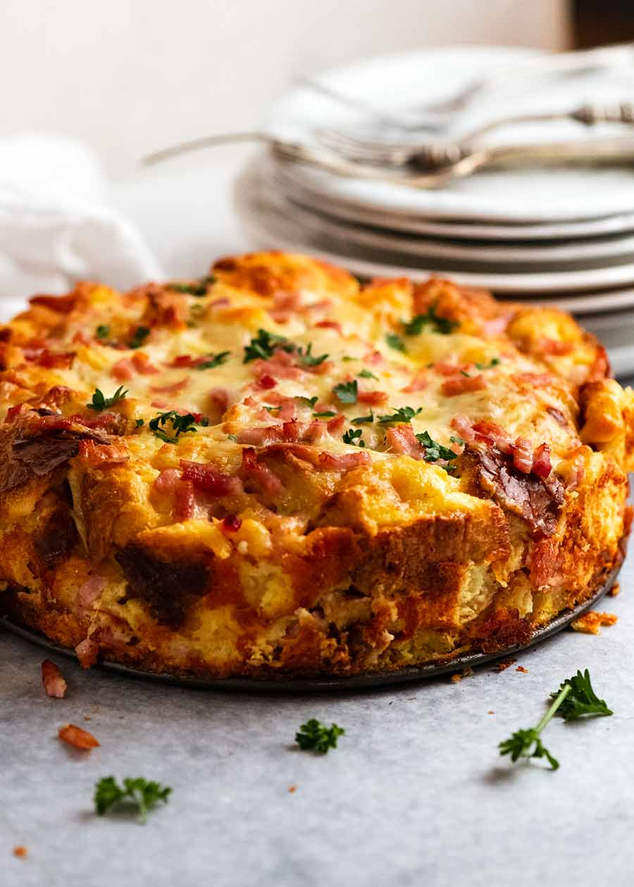 Cheese & bacon strata cake – breakfast casserole!