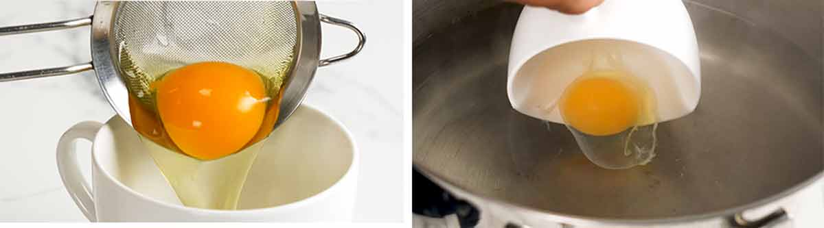 Put eggs in teacup for easy handling