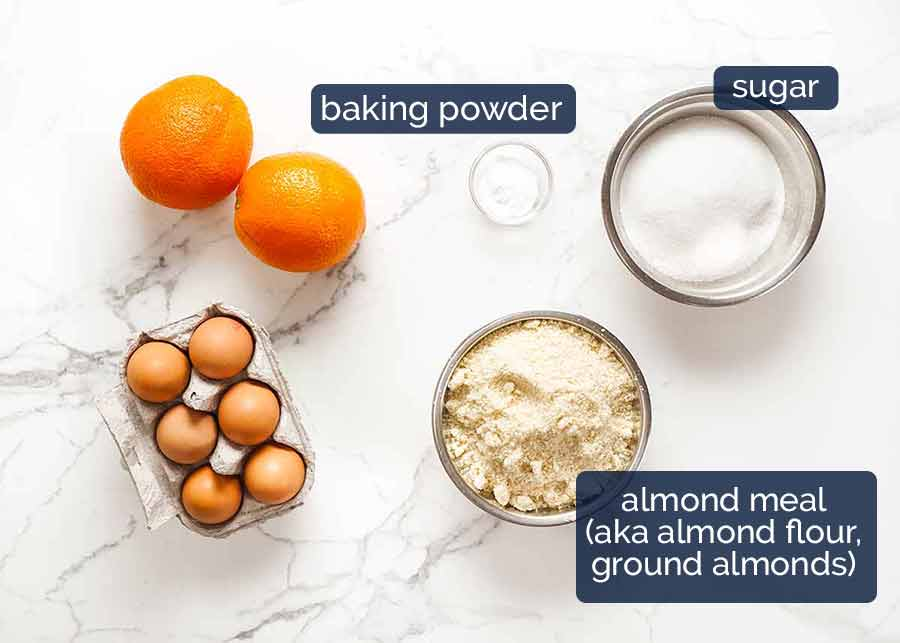 Ingredients in Orange Cake - flourless, gluten free