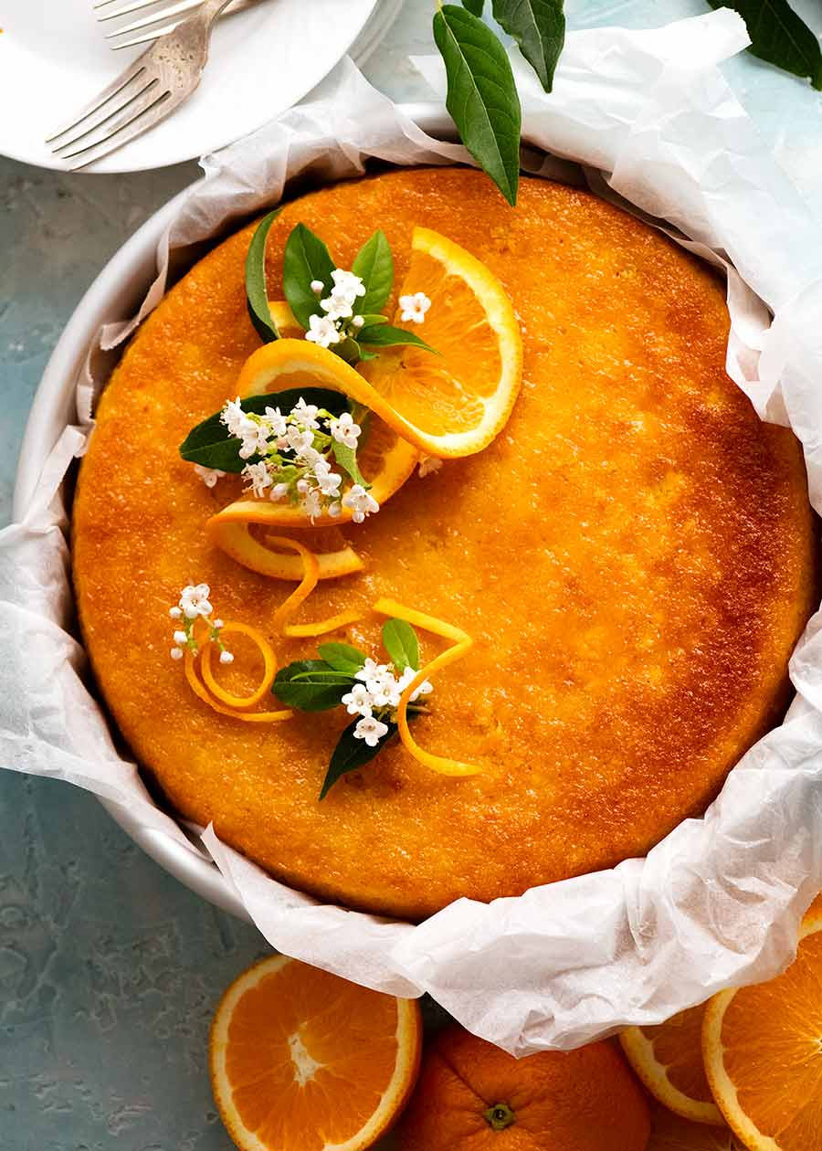 Overhead photo of Orange Cake - flourless, gluten free