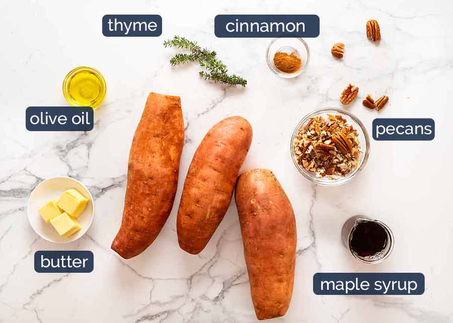 Ingredients in Fondant Sweet Potatoes with Maple Butter