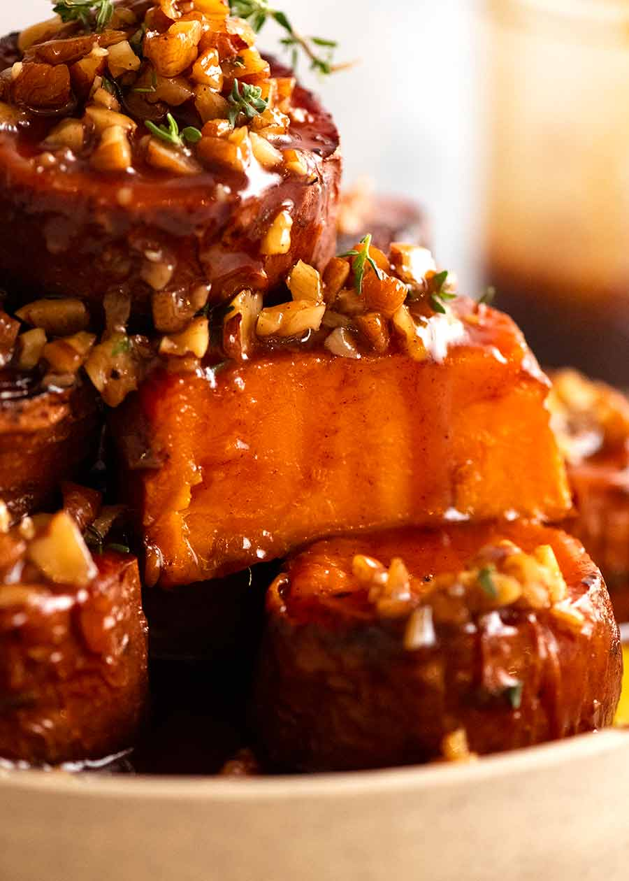 Close up showing the inside of Slow Roasted Fondant Sweet Potatoes with Maple Butter