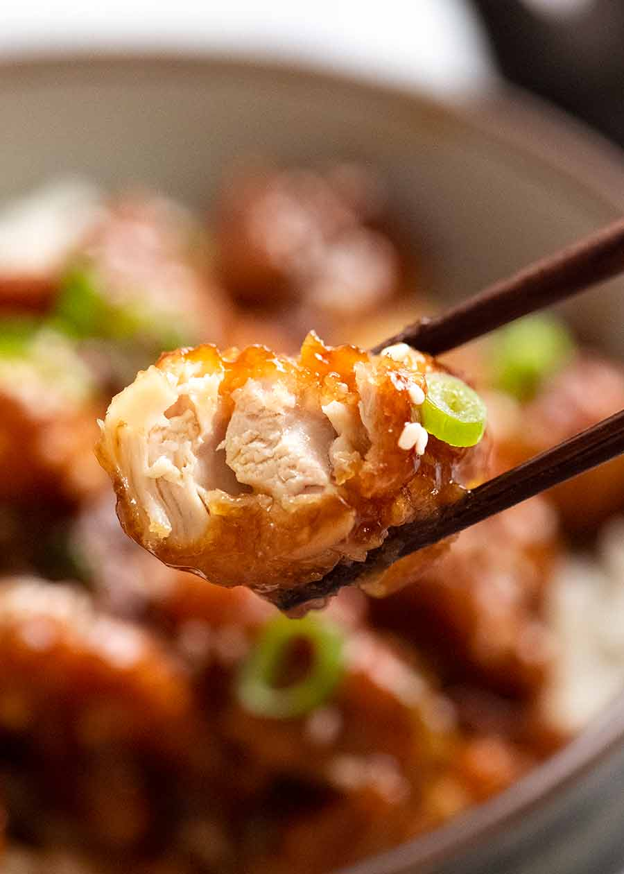 Close up showing inside of a piece of General Tso's Chicken