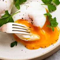 Poached Eggs on a plate - perfect poached egg shape