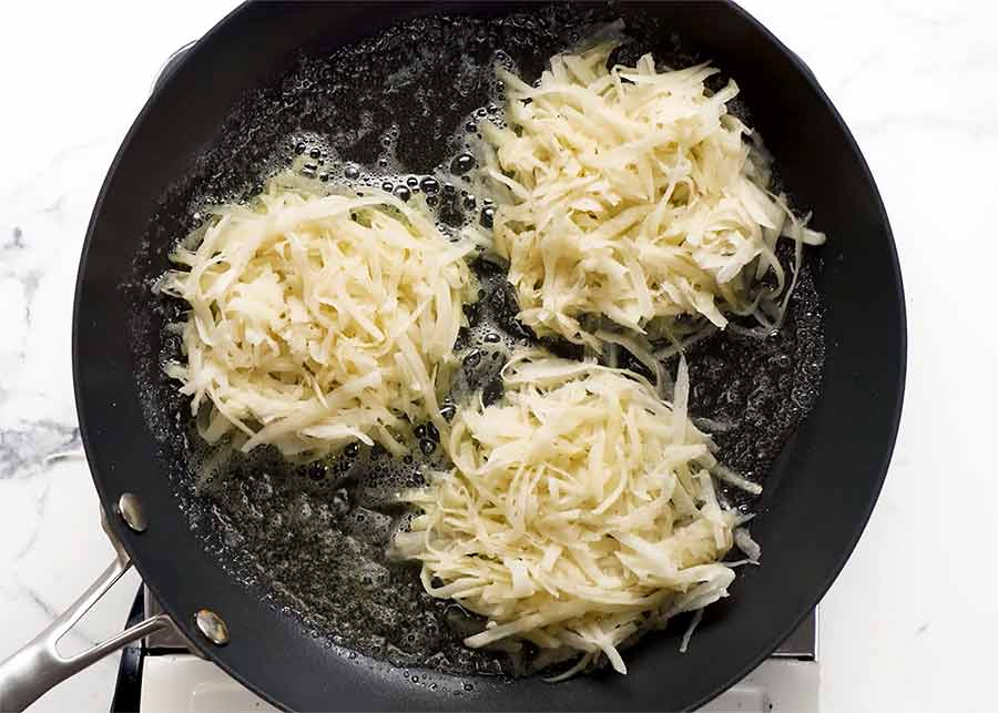 Small Potato Rosti in a skillet