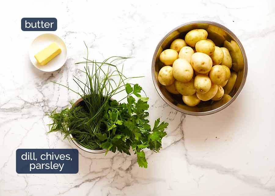 Ingredients in Baby Potatoes with Butter & Herbs